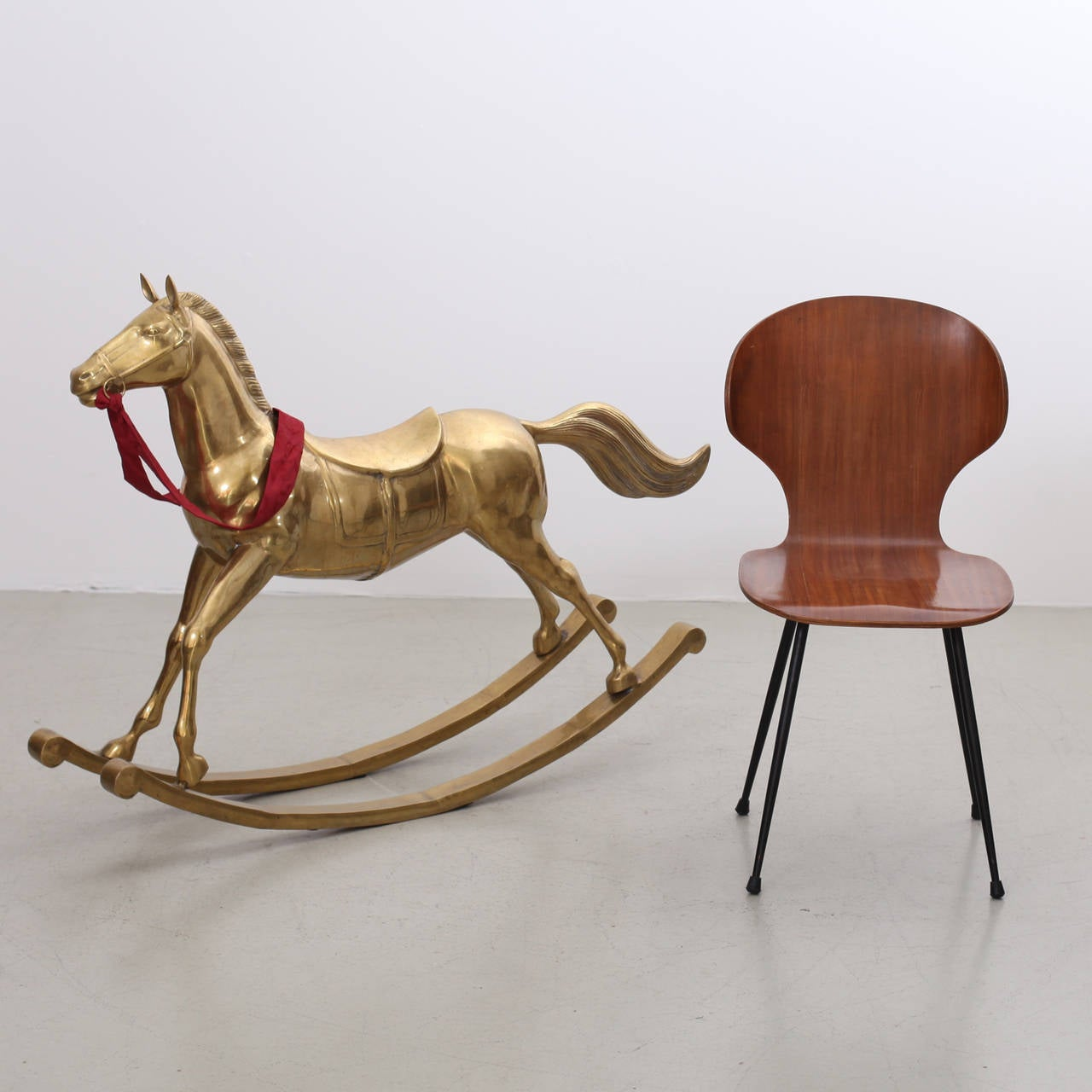 Huge Brass Rocking Horse For Christmas Decoration For Sale 2