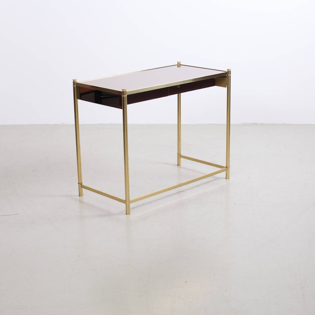 Brass And Mirror Dressing Or Vanity Table In The Manner Of Maison Jansen At 1