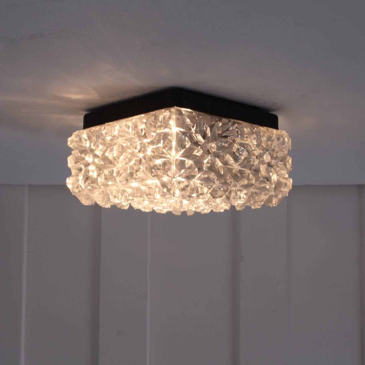 Glass Crystal Flush Mount Wall or Ceiling Lamps by Glashutte Limburg at 1stdibs