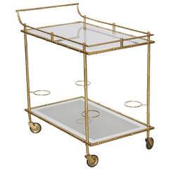 Maison Bagues Bar Cart in Brass and Glass Bamboo