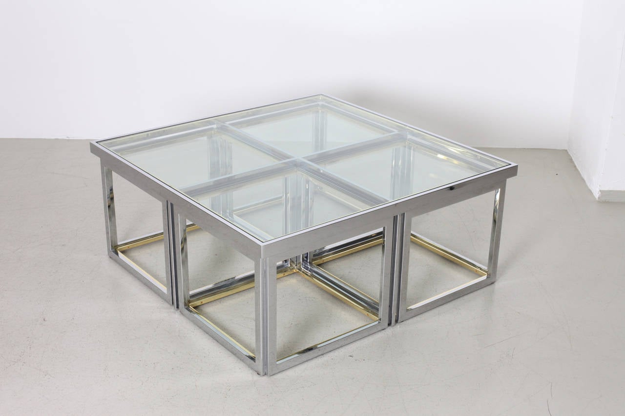 Huge Coffee Table In Brass And Chrome With Four Nesting Tables By Maison  Charles 3