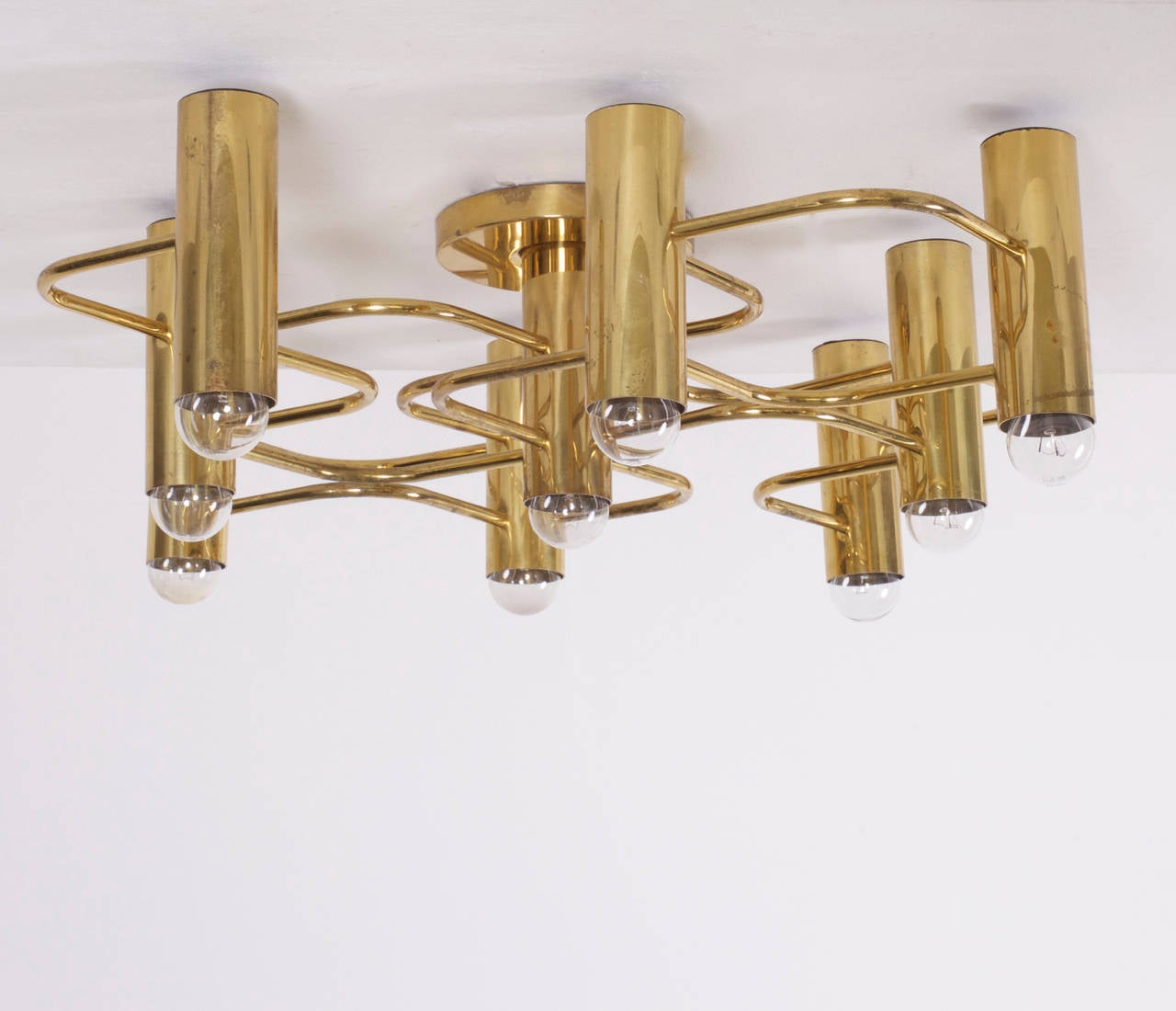 Brass Nine-Light Flush Mount Wall or Ceiling Lamp by Leola at 1stdibs