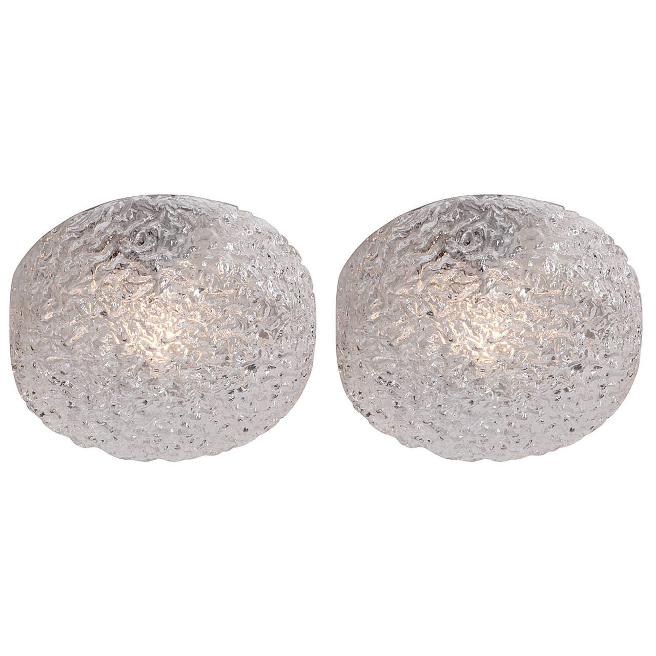 One of Two Bubble Glass Flush Mounts or Wall Sconces by GLASHÜTTE LIMBURG