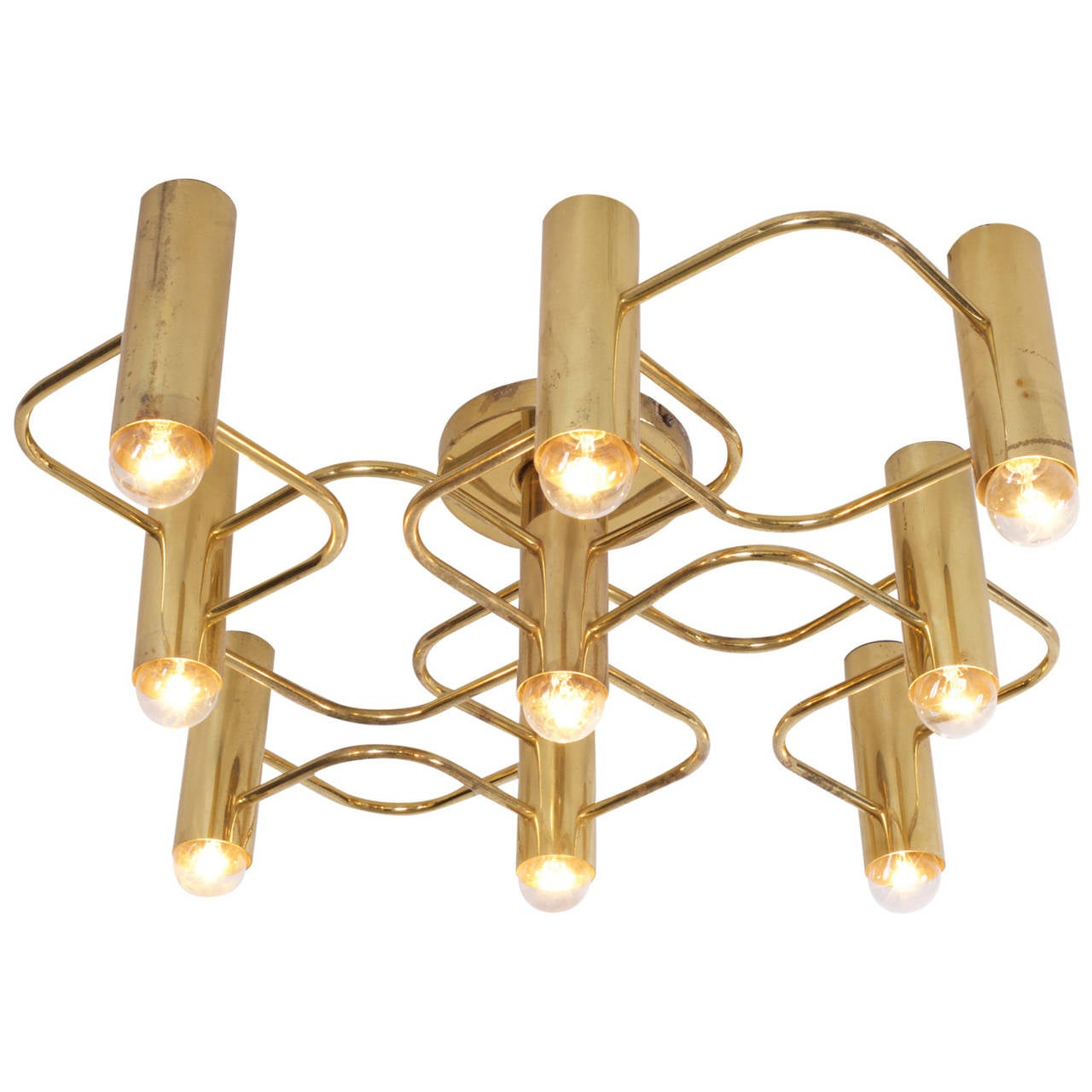Brass Chandelier Ceiling Lights : Brass nine light flush mount wall or ceiling lamp by leola