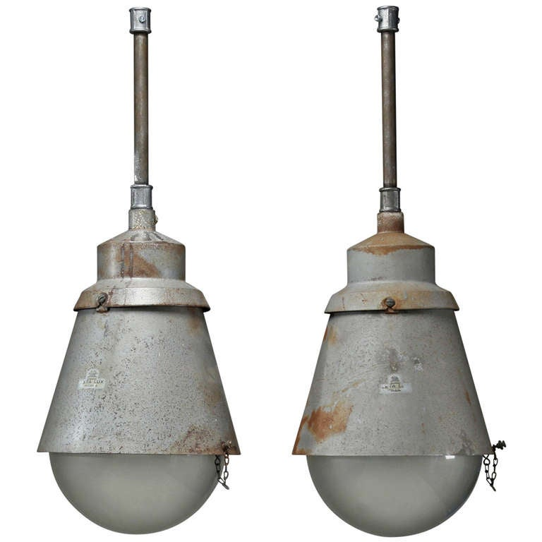XXL Several Large Labeled Zeiss Ikon Milano Lamps, 1920s