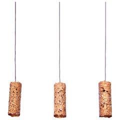 Set of Three Copper Brutalist Pendant Lamps
