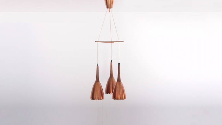 Danish Impressive Copper Chandelier with Performated Shades and Tropic Wood Details For Sale