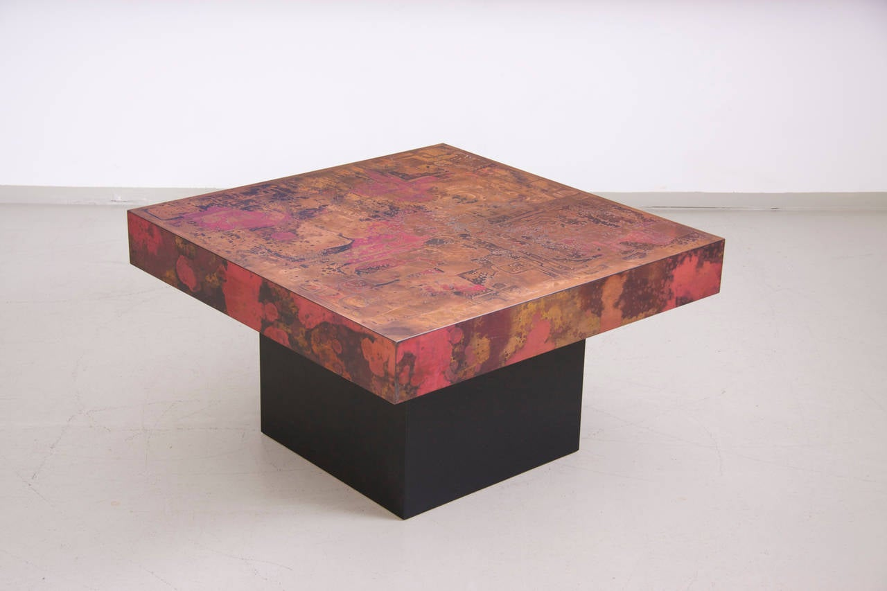Excellent Condition Brutalist Coffee Table With Black Laquered Wooden Base And Copper Top Made In