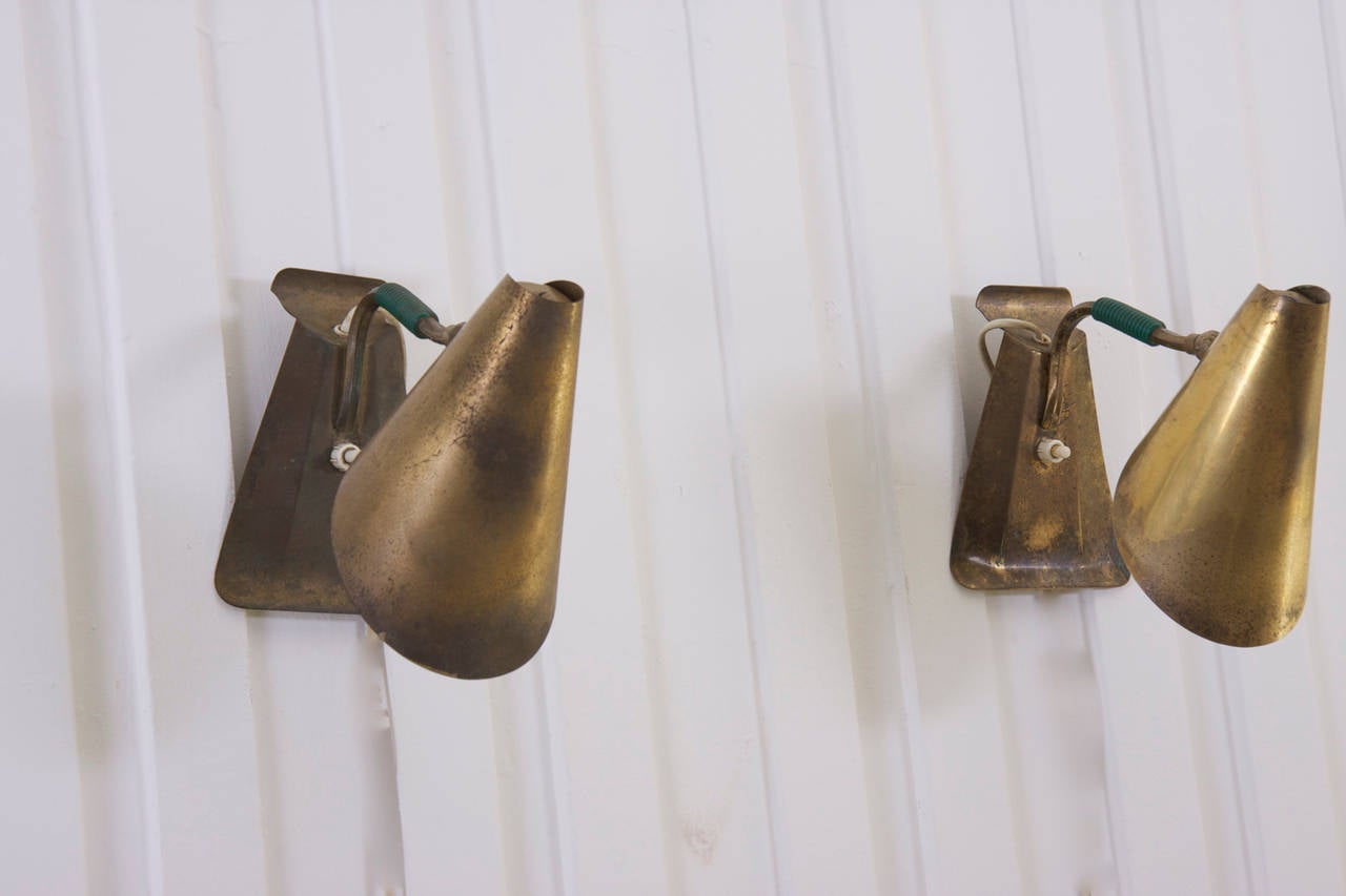 Small Brass Wall Lamps : Pair of small italian 1950s mid-century modern brass table / wall Lamps at 1stdibs