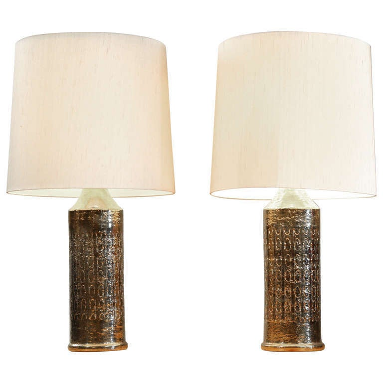 High End Pair of Large Bergboms Gilded Ceramic Table Lamps, Sweden