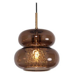 Pendant by Carl Fagerlund for Orrefors in Brown and Bubble Glass Piece