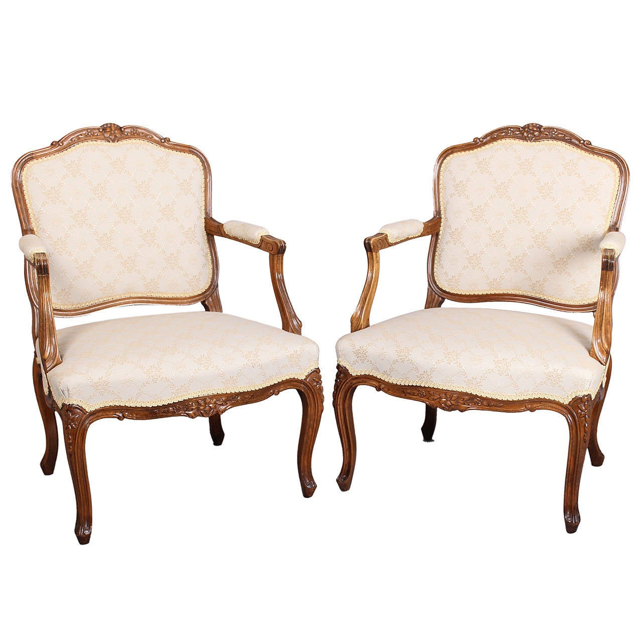 pair of danish beech fauteuils in the louis xv manner at 1stdibs. Black Bedroom Furniture Sets. Home Design Ideas