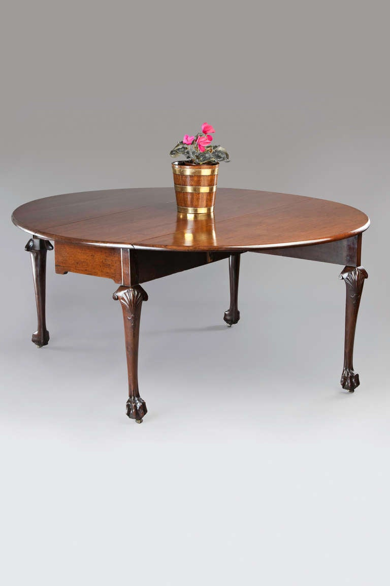 Rare george ii mahogany drop leaf dining table at 1stdibs for 3 leaf dining room tables