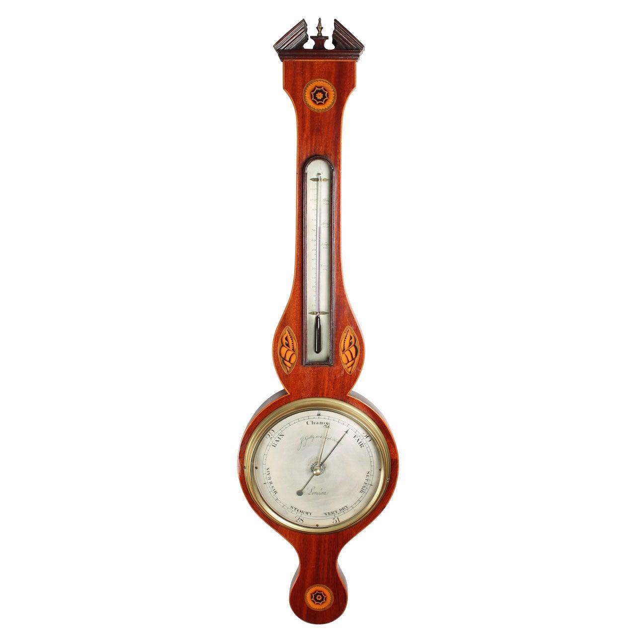 Early 19th Century Mahogany Wheel Barometer by J Gatty