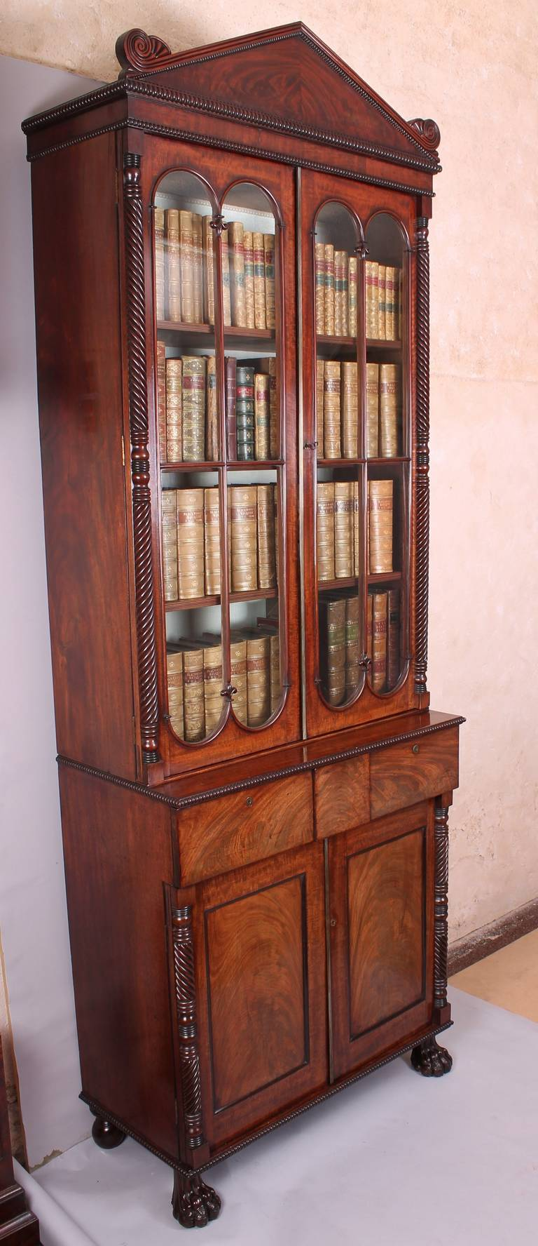 Fine George Iv Period Mahogany Bookcase And Cabinet Of