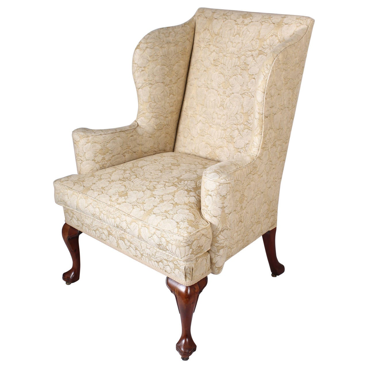 Wingback chair on walnut cabriole legs in the classic for Queen anne furniture