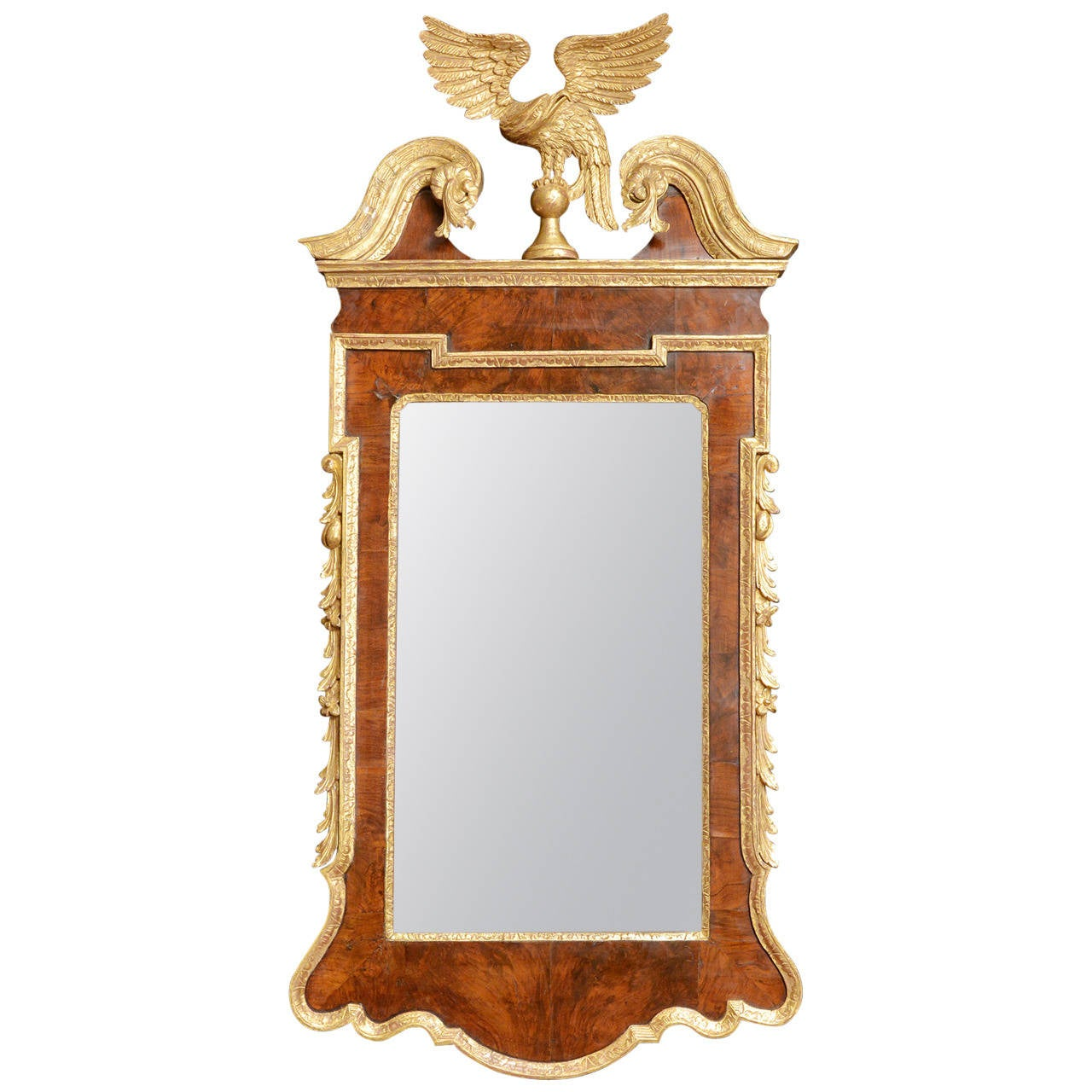 George ii walnut and parcel gilt mirror at 1stdibs for What is a gilt mirror