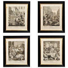 """Four Stages of Cruelty,"" Engraved Prints after William Hogarth"