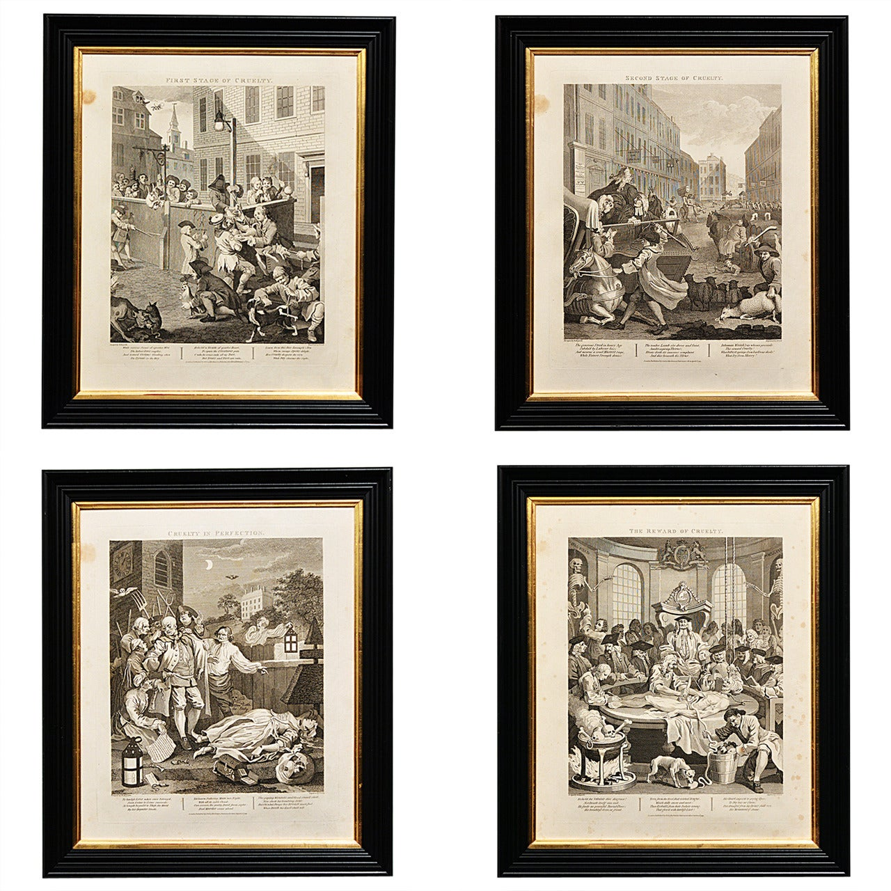 """""""Four Stages of Cruelty,"""" Engraved Prints after William Hogarth"""