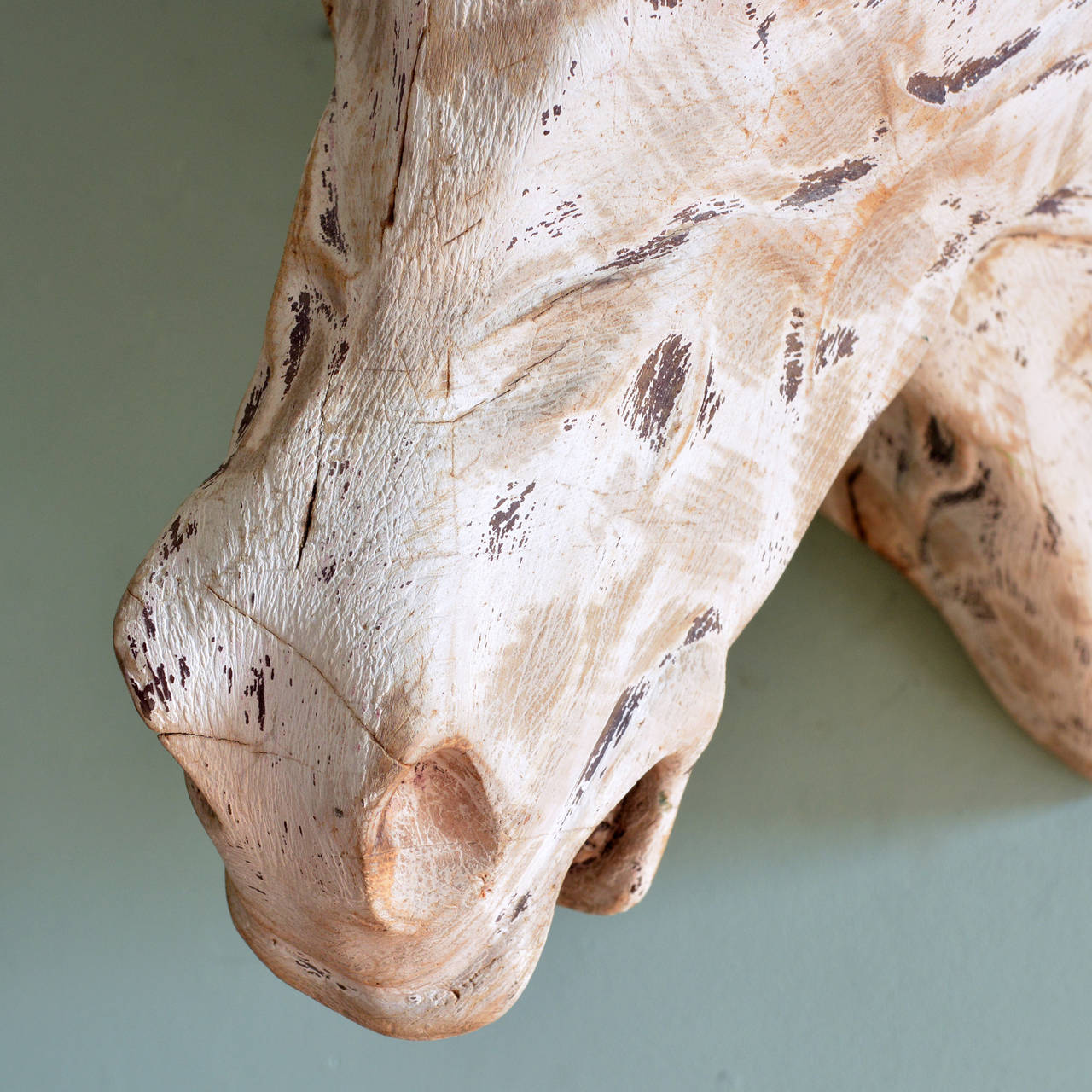 French Carved Wooden Horse Head For Sale