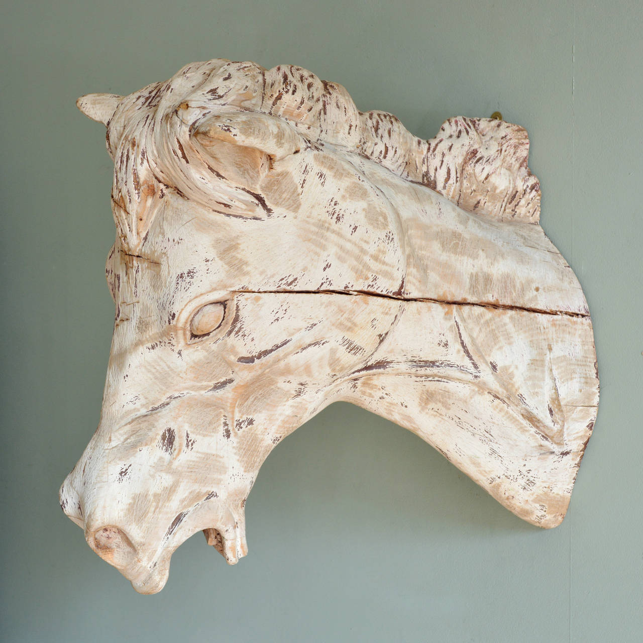 Carved Wooden Horse Head In Excellent Condition For Sale In London, GB