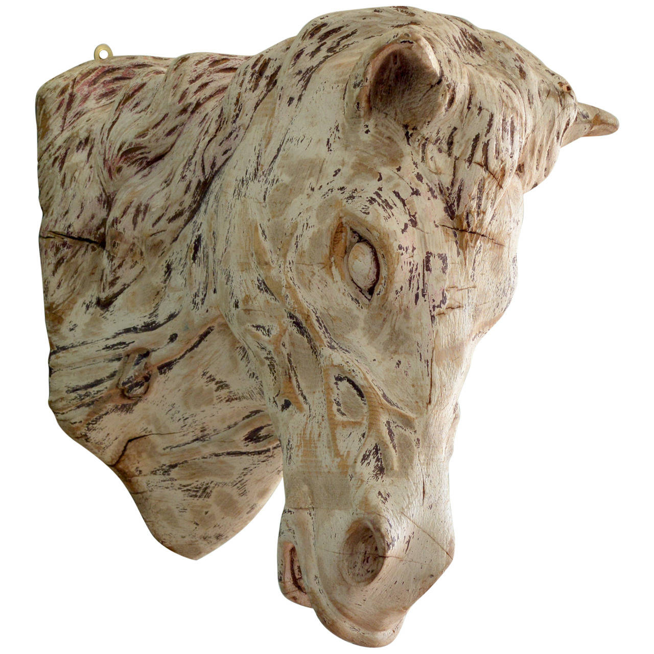 Carved Wooden Horse Head For Sale