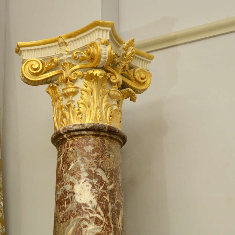 Classical Roman Rouge Royale Marble Columns For Sale