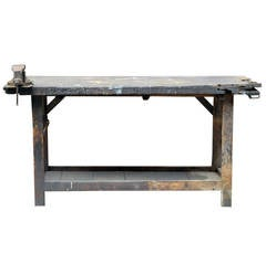 Early 20th Century Pine Workbench with Vice