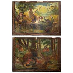 Pair of Large Hunting Scenes Paintings