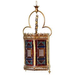 Victorian Brass and Stained Glass Lantern