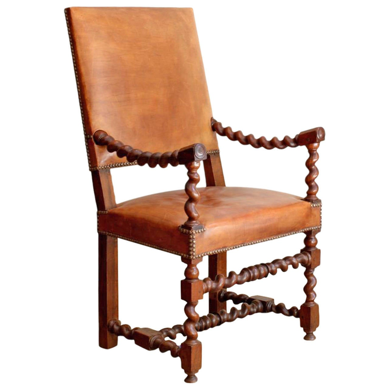 Unique Barley Twist Leather Chair At 1stdibs