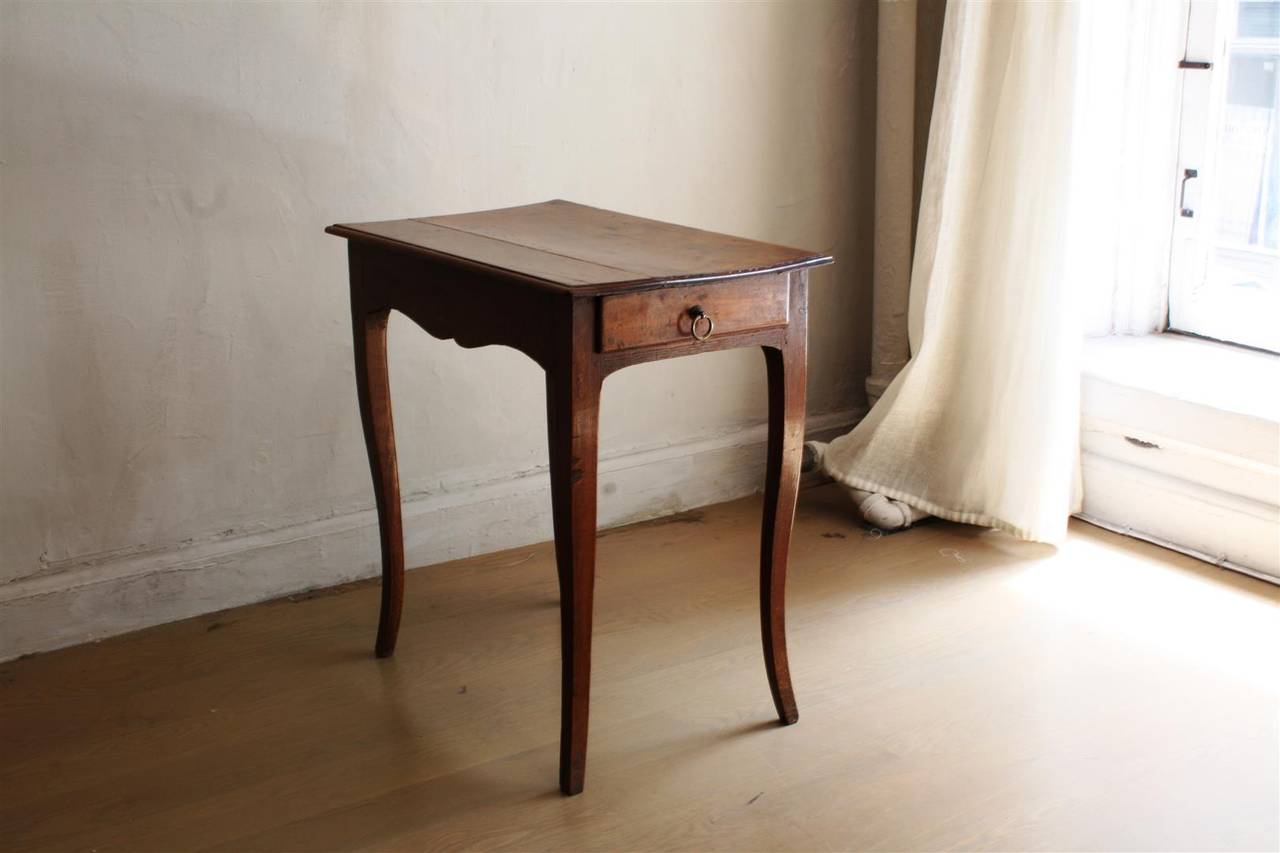 Details Louis Xv Style Small Walnut Side Table Single Drawer Slight Scalloped A