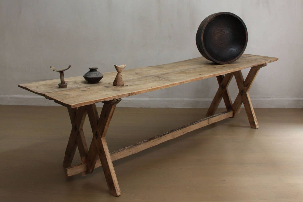 Captivating Rare Dolomites Pine Wood Dining Or Console Trestle Table, 18th Century 2