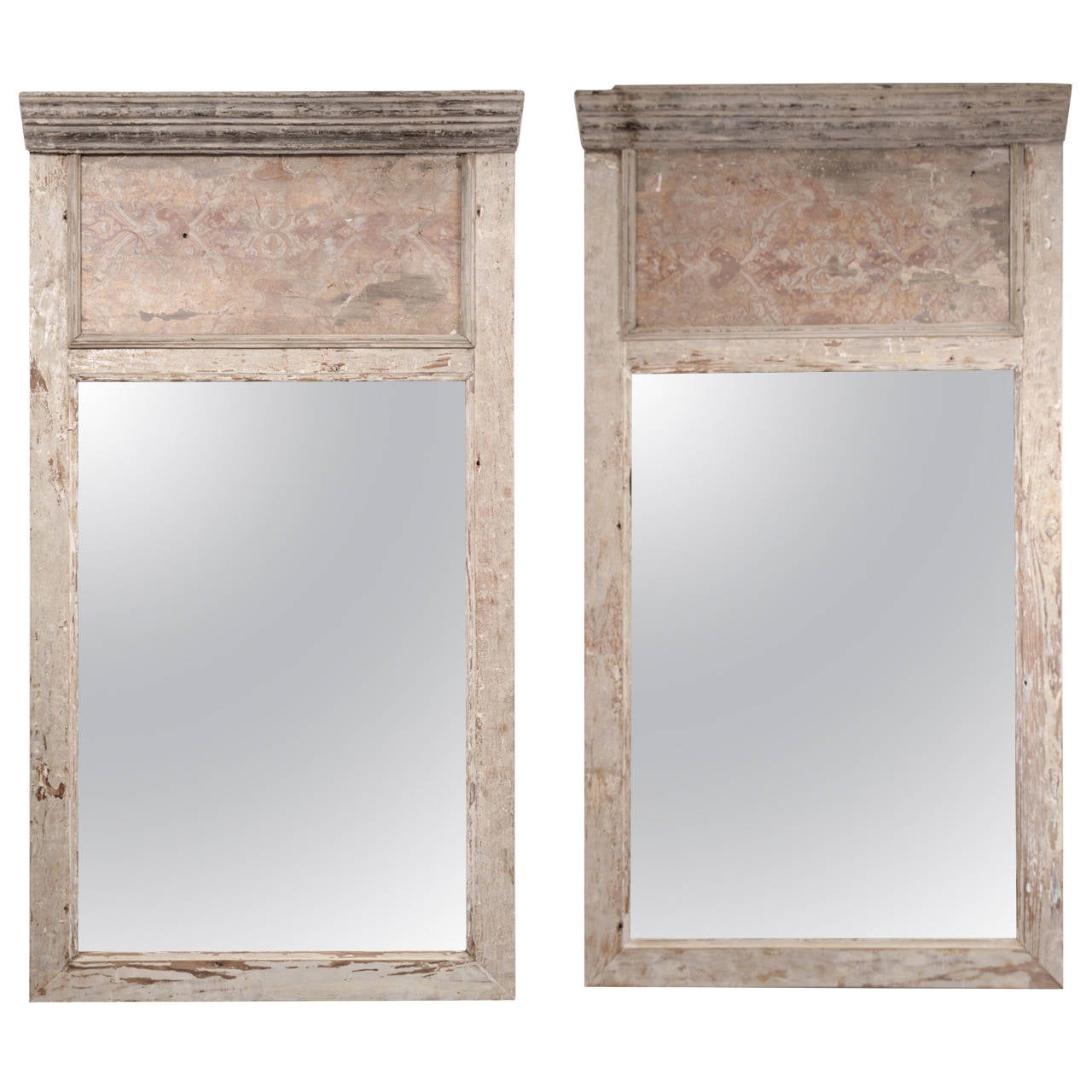 Pair of Large 17th Century Architectural Paneled Frames as Trumeau Style Mirror