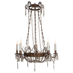 Early 19th Century Italian Tôle and Crystal Chandelier