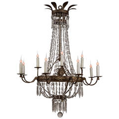 Large 19th Century Italian Gilt Iron and Crystal Chandelier