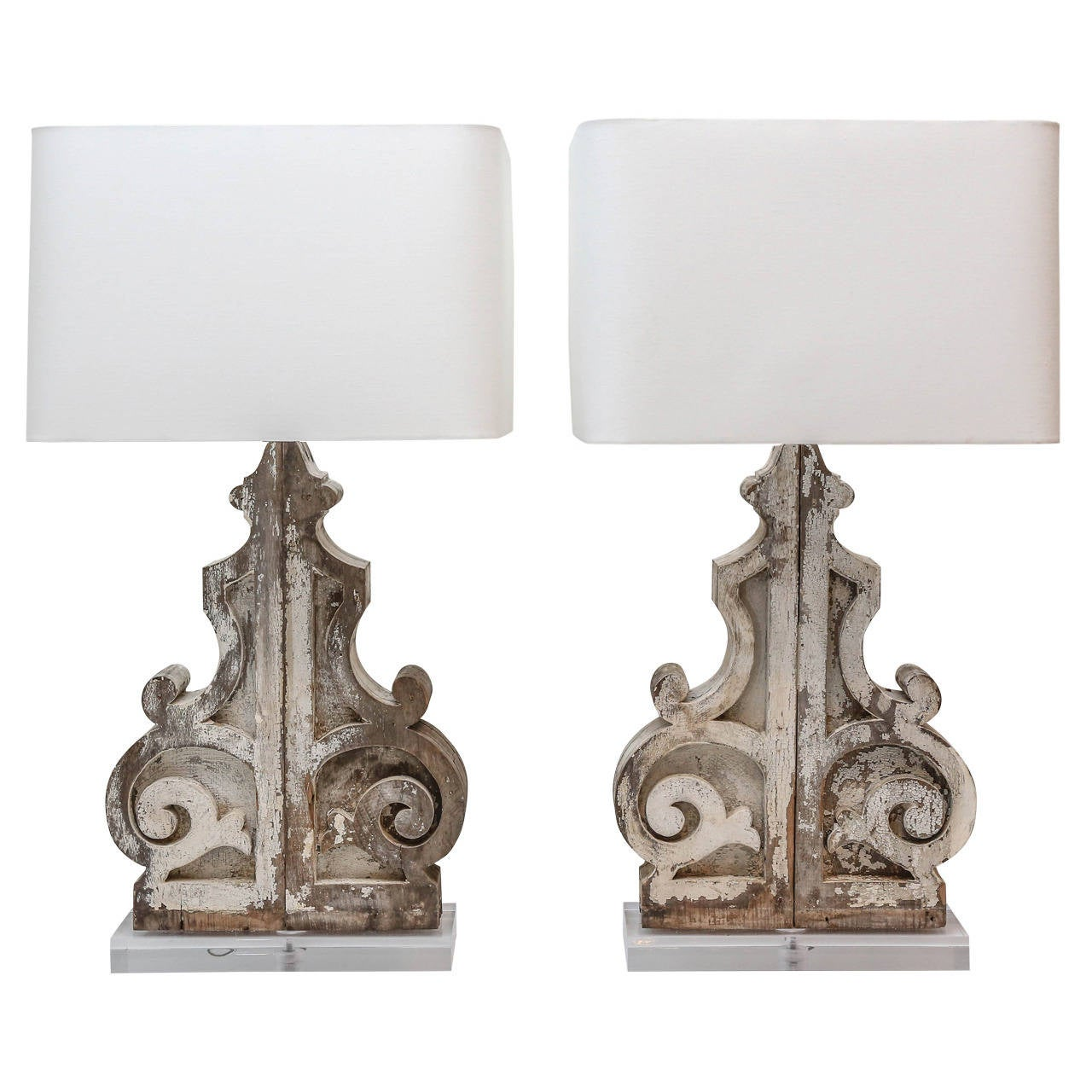 Pair of large custom table lamps from painted corbels at 1stdibs pair of large custom table lamps from painted corbels for sale aloadofball Choice Image