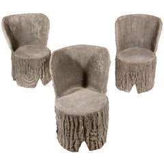 Set of Three Faux Bois Chairs