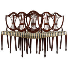 Vintage Six Mahogany Wood Shield Chairs