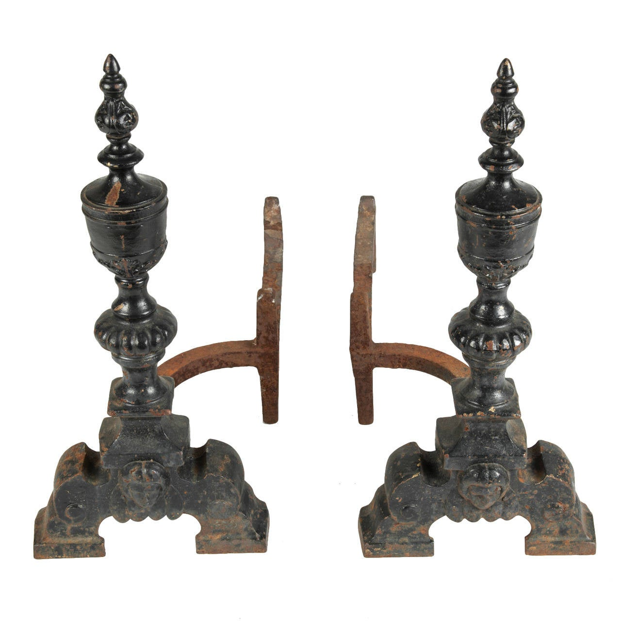Antique Wrought Iron Andirons At 1stdibs