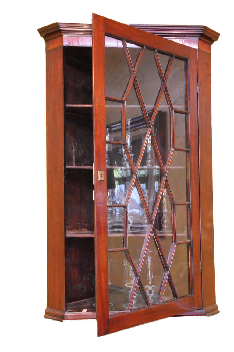 Glass Front Mahogany Corner Wall Cabinet With Wood Mullions. Contains Four  Shelves.