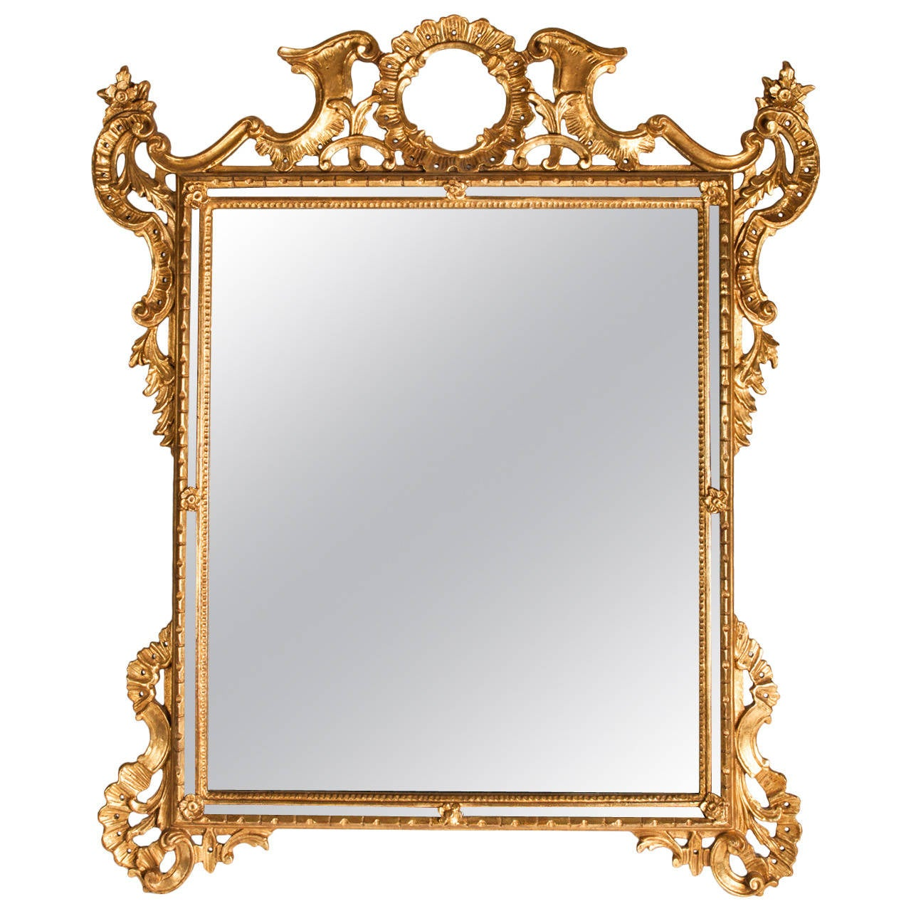 Vintage gilded wood frame hanging wall mirror for sale for Hanging mirror
