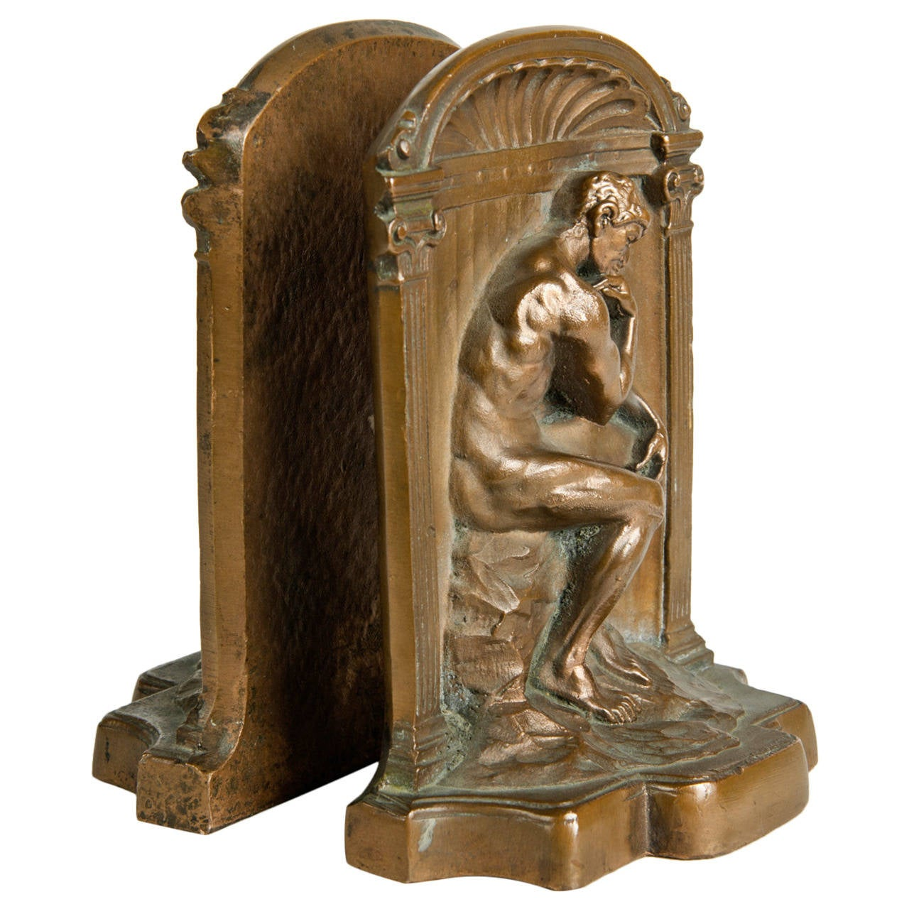 Antique bronze bookends at 1stdibs - Antique brass bookends ...