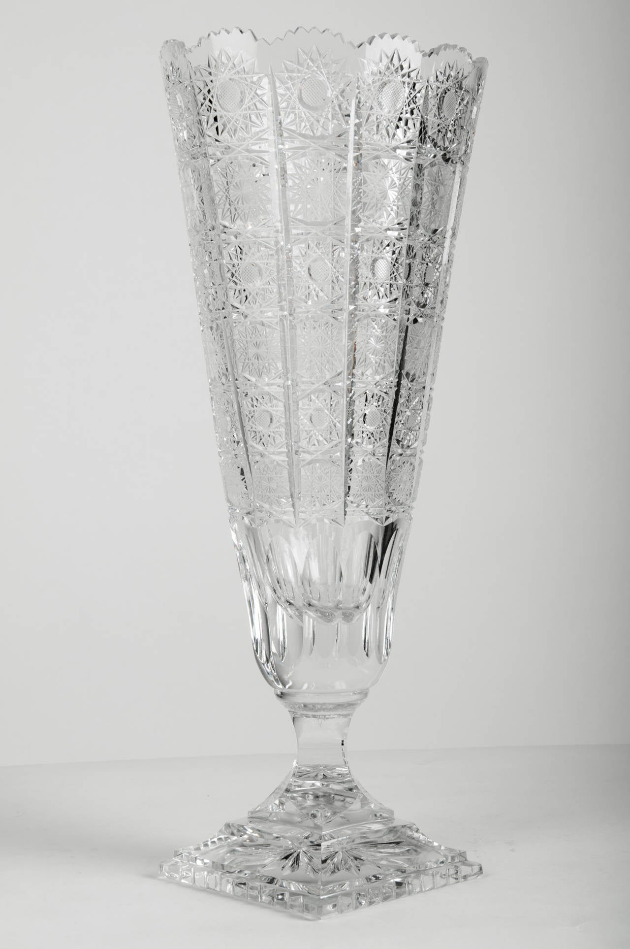 Very Tall Antique Cut Crystal Vase At 1stdibs