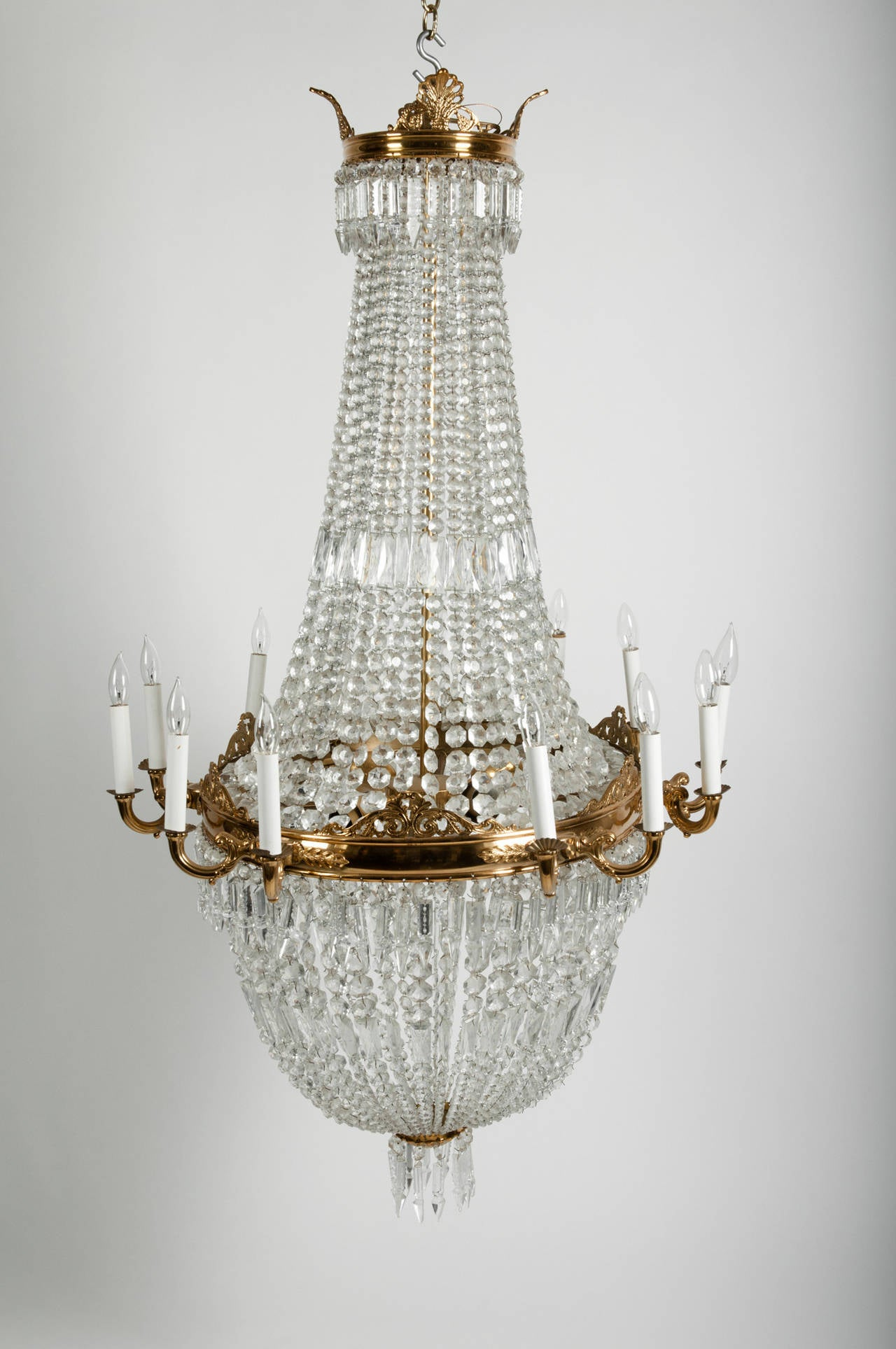 Antique French Bell Shape Cut Crystal with Brass Framed Chandelier ...