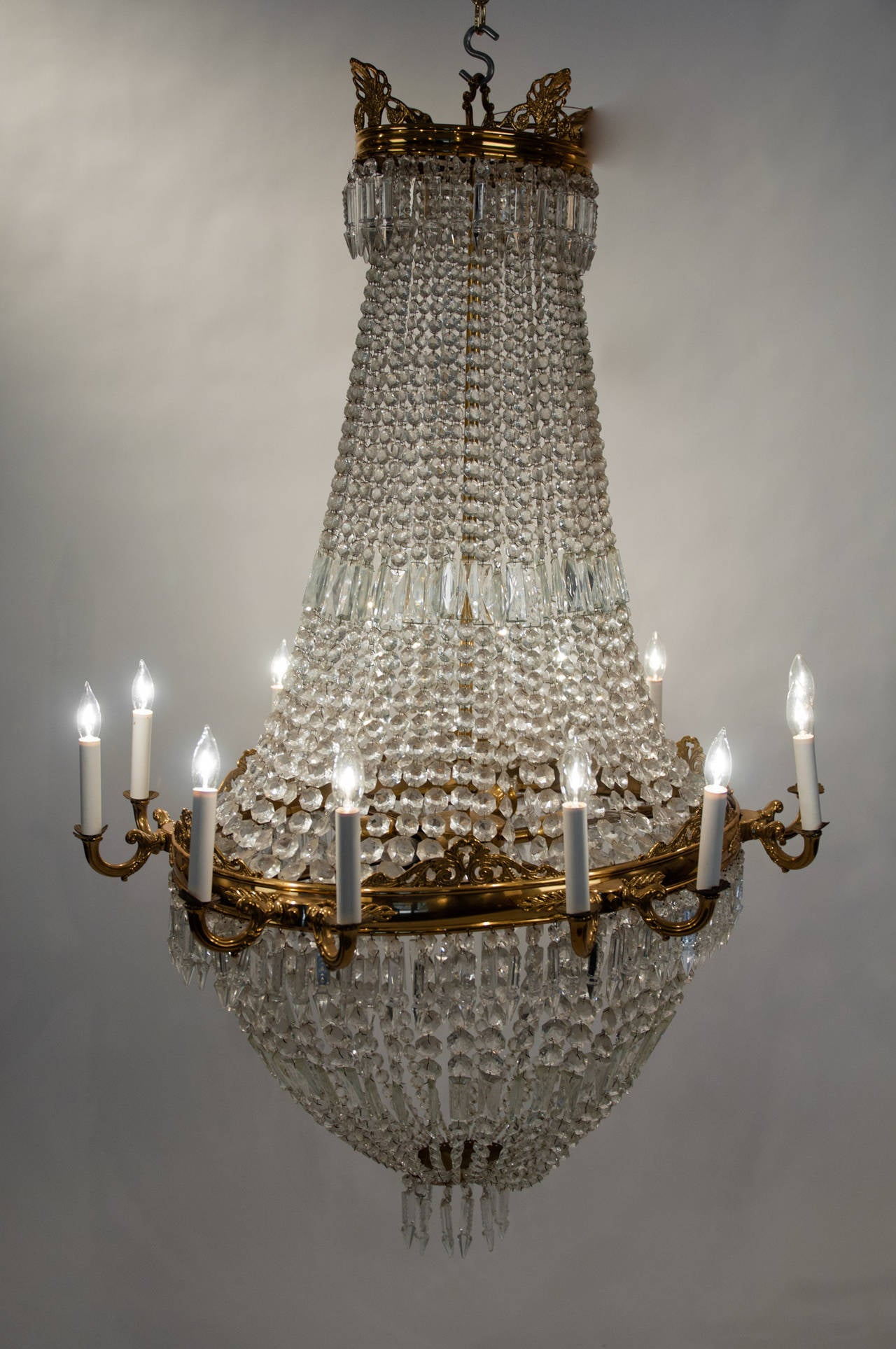 Antique French Bell Shape Cut Crystal with Brass Framed Chandelier – Bell Chandelier