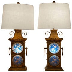 Antique European Gilted Lamps with stained glass