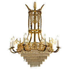 Vintage Ten-Arm French Cut Crystal Chandelier