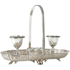 Antique Silver Plate Egg Cruest with Basket Weave