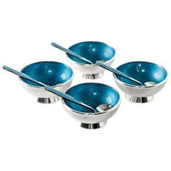 Antique Enameled Sterling Silver Salt Cellars with Spoons